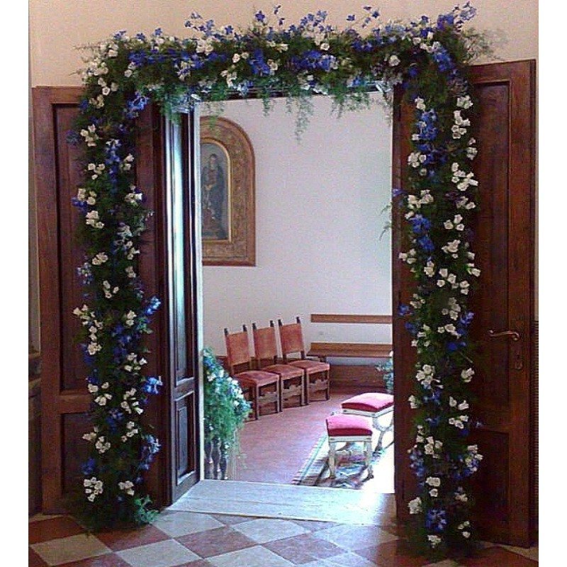 FESTOON, FLORAL, TRADITION, white, and blue
